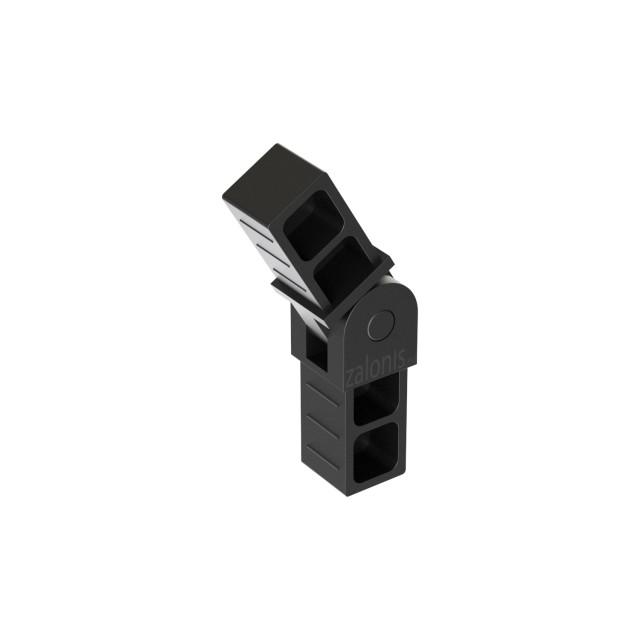 ADJUSTABLE DOUBLE CONNECTOR 20x20, BLACK