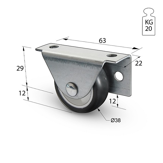 SIDE FIXING CASTOR CVL D.38/H.42/20kg THERMOPLASTIC RUBBER
