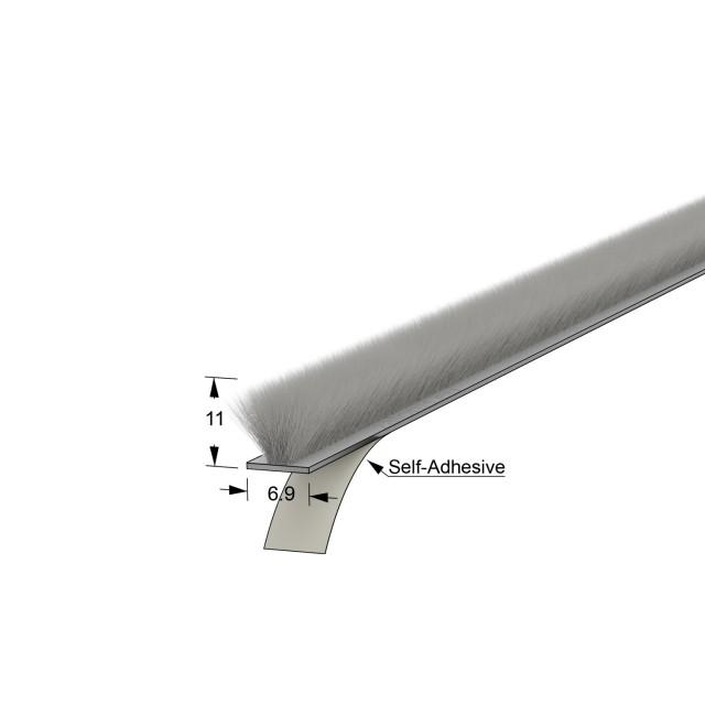SELF-ADHESIVE WINDOW BRUSH SEAL / 6.9x11 - GRAY
