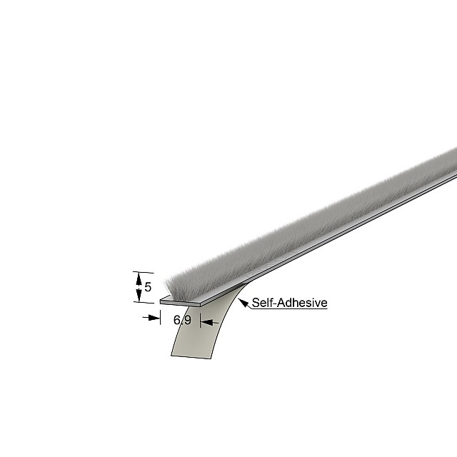 SELF-ADHESIVE WINDOW BRUSH SEAL / 6.9x5 - GRAY