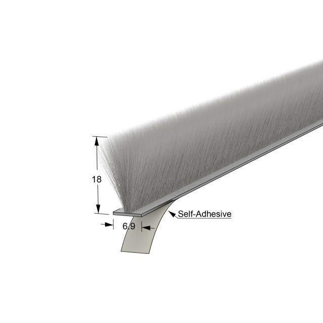 SELF-ADHESIVE WINDOW BRUSH SEAL / 6.9x18 - GRAY