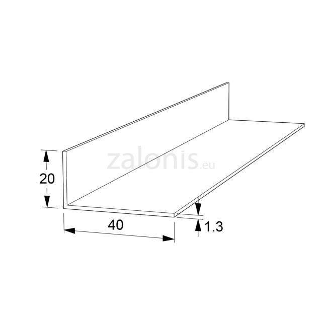 L-SHAPE ALUMINUM PROFILE 40x20 ANODISED